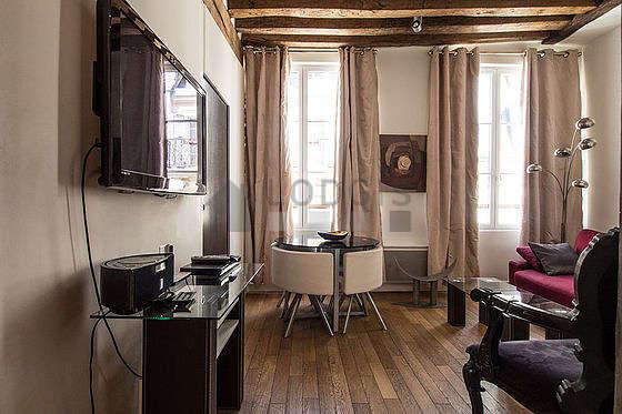 Séjour calme équipé de 1 canapé(s) lit(s) de 140cm, air conditionné, téléviseur, 1 fauteuil(s)
