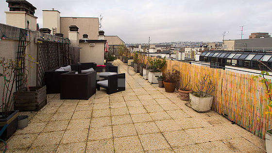 Large very quiet and very bright balcony with paving floor