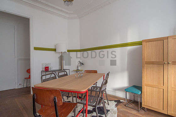 Great dining room with wooden floor