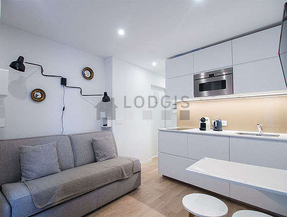 Quiet living room furnished with 1 sofabed(s) of 140cm, tv, wardrobe