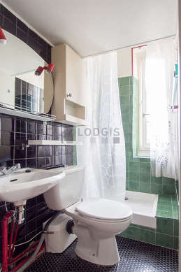 Salle de bain équipée de placard, sanibroyeur