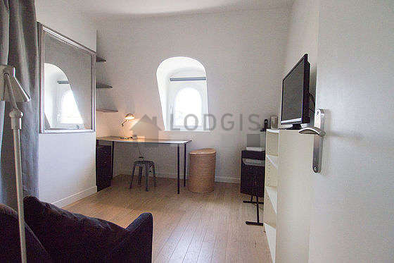 Very quiet living room furnished with 1 sofabed(s) of 120cm, tv, wardrobe, cupboard