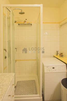 Bathroom with linoleum floor