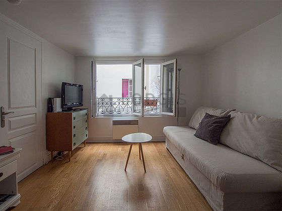 Séjour calme équipé de 1 canapé(s) lit(s) de 130cm, télé, placard, 1 chaise(s)