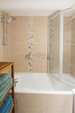 Pleasant bathroom with wooden floor