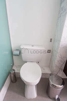 Bathroom equipped with bath tub, separate shower, towel drying radiator