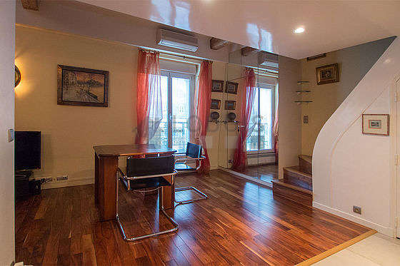 Beautiful dining room with wooden floor for 2 person(s)