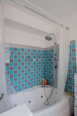 Bathroom equipped with spa bath, shower in bath tub