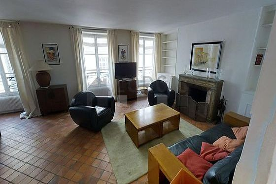 Very quiet living room furnished with 1 sofabed(s) of 160cm, tv, 2 armchair(s), 6 chair(s)