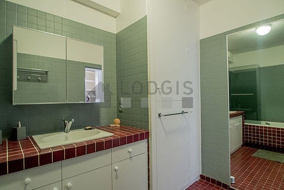 Bathroom equipped with washing machine, shower in bath tub