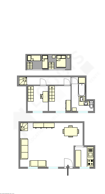 Duplex Paris 15° - Plan interactif