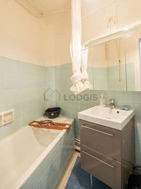 Bright bathroom with tile floor