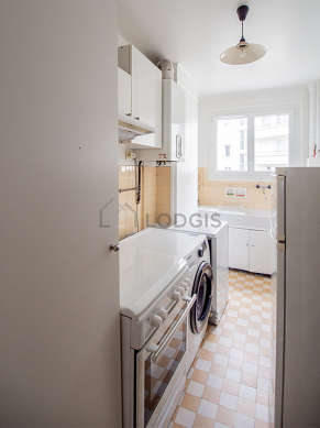 Kitchen with its tile floor