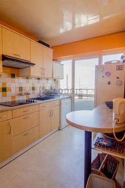 Kitchen with its linoleum floor