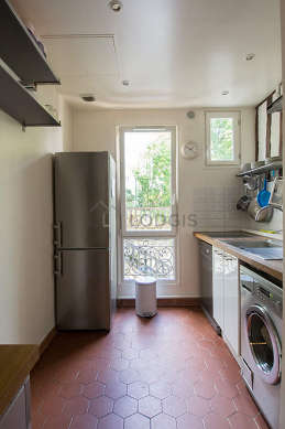 Beautiful kitchen with floor tiles floor