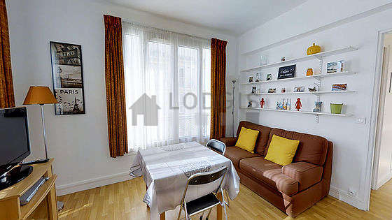 Very quiet living room furnished with 1 sofabed(s) of 140cm, tv, dvd player, closet