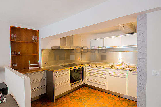 Beautiful kitchen with floor tiles floor