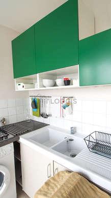 Great kitchen with its linoleum floor