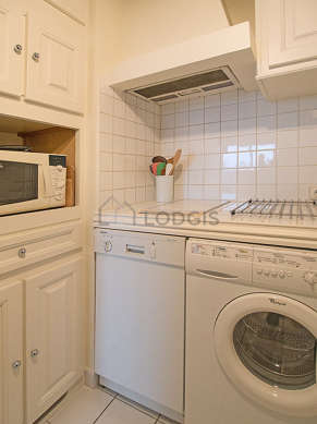 Kitchen where you can have dinner for 2 person(s) equipped with washing machine, refrigerator, freezer