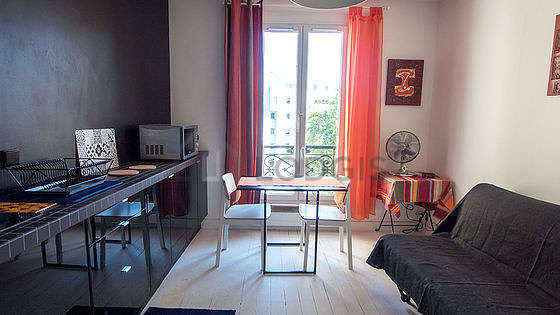 Quiet living room furnished with 1 sofabed(s) of 140cm, tv, closet, cupboard