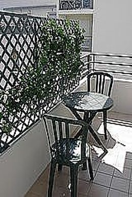 Balcony facing due east and view on garden