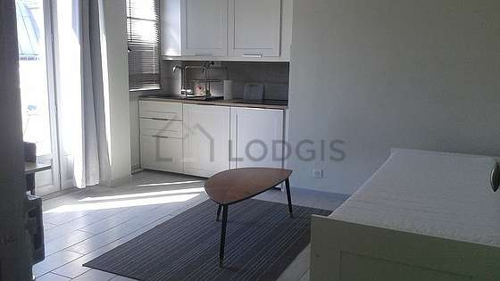 Living room furnished with 1 sofabed(s) of 0cm, dining table, wardrobe, 1 chair(s)
