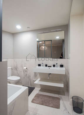 Pleasant and bright bathroom with marble floor