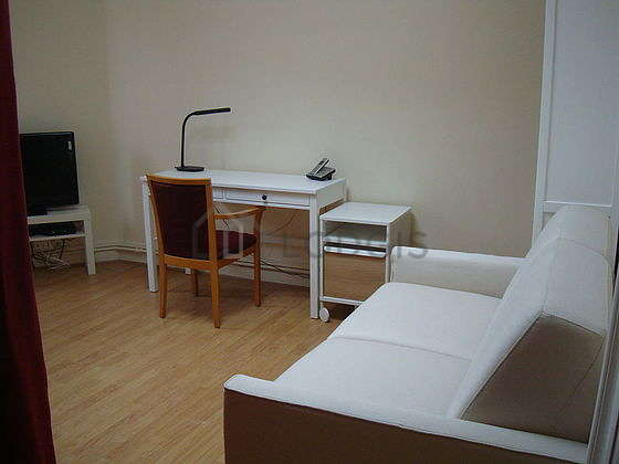Very quiet living room furnished with 1 sofabed(s) of 120cm, tv, wardrobe, 1 chair(s)