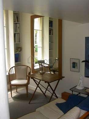 Salon de 18m² avec du béton au sol