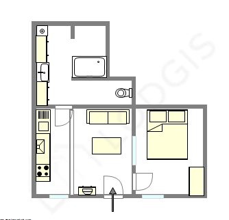 Apartment Paris 20° - Interactive plan