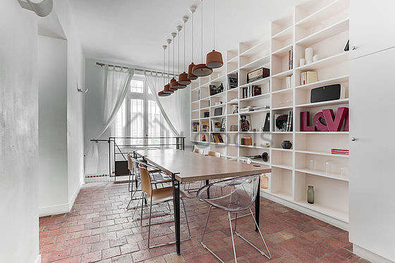 Great dining room with tile floor for 8 person(s)