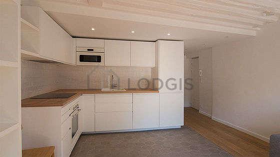 Great kitchen with floor tiles floor