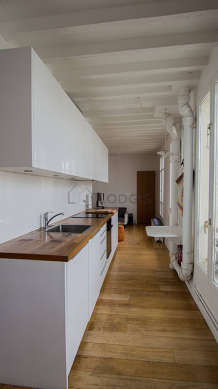 Beautiful kitchen with wooden floor