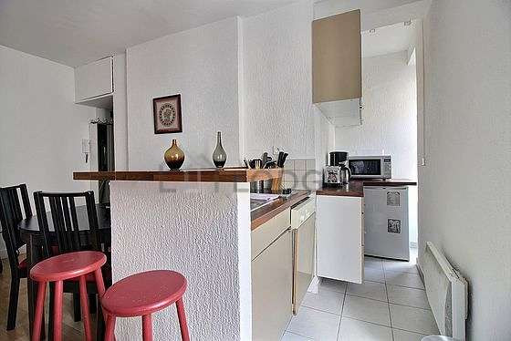 Kitchen equipped with dishwasher, refrigerator, extractor hood, crockery
