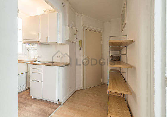 Kitchen equipped with dishwasher, refrigerator, extractor hood