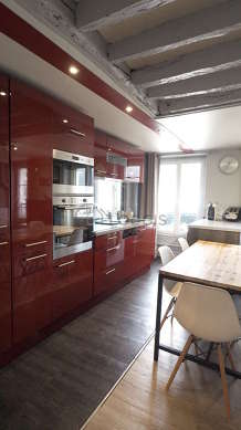 Beautiful kitchen with linoleum floor