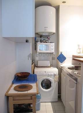 Kitchen where you can have dinner for 2 person(s) equipped with washing machine, dryer, refrigerator, freezer