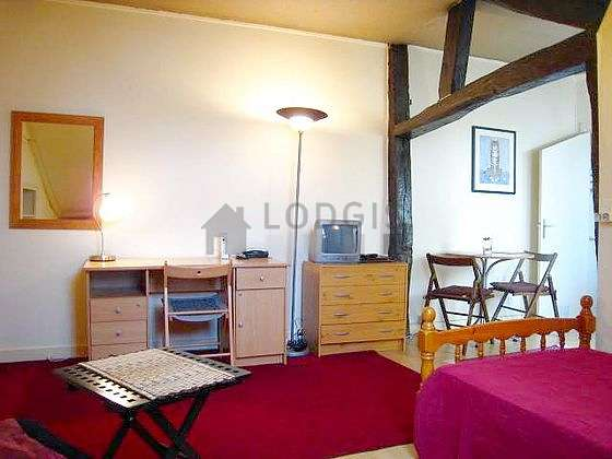 Very quiet living room furnished with 1 bed(s) of 90cm, tv, dvd player, 1 armchair(s)