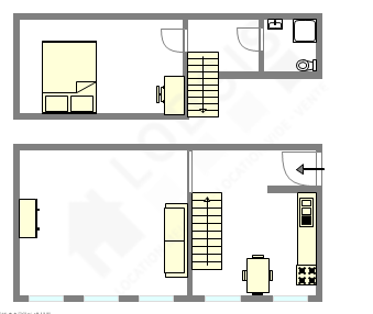Duplex Paris 14° - Interactive plan