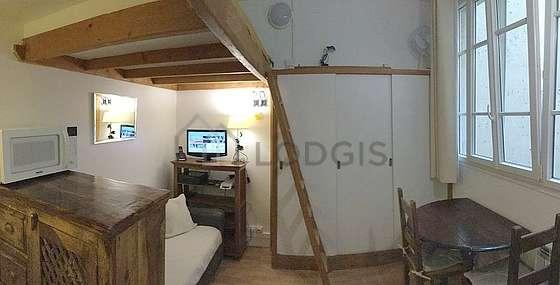 Séjour très calme équipé de 1 lit(s) mezzanine de 120cm, téléviseur, chaine hifi, penderie