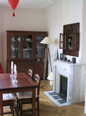 Beautiful dining room with its wooden floor for 6 person(s)