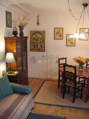 Very quiet living room furnished with 1 sofabed(s) of 90cm, dining table, closet, 4 chair(s)
