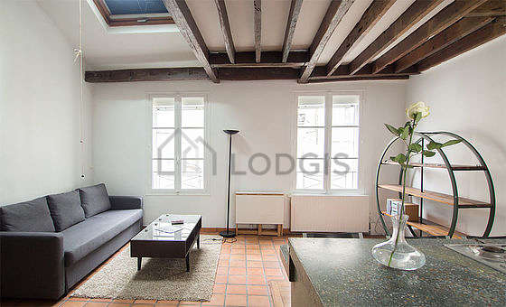 Very quiet living room furnished with 1 sofabed(s) of 140cm, hi-fi stereo, 2 armchair(s)