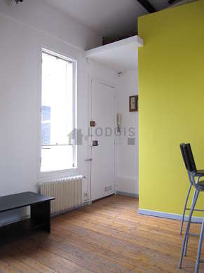 Very quiet living room furnished with 1 loft bed(s) of 140cm, dining table, wardrobe, 3 chair(s)
