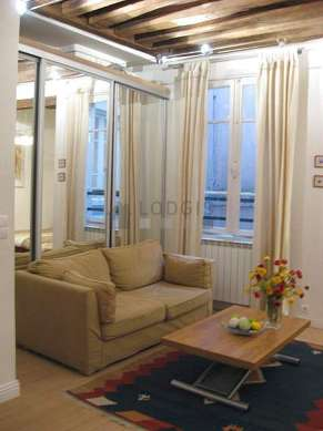 Very quiet living room furnished with 1 sofabed(s) of 120cm, 1 bed(s) of 140cm, air conditioning, tv