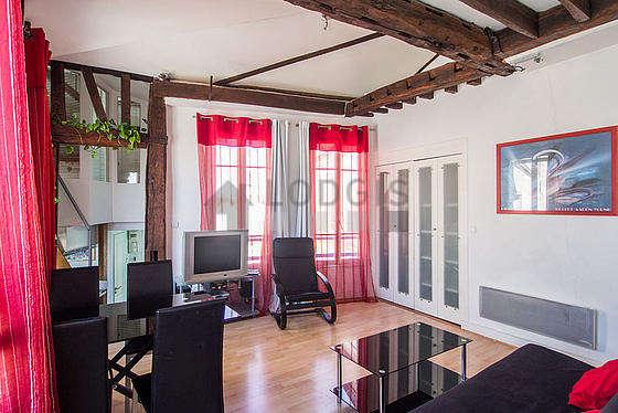 Séjour très calme équipé de 1 futon(s) de 140cm, téléviseur, chaine hifi, 1 fauteuil(s)