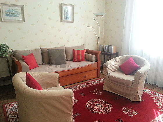 Living room furnished with 1 pullout bed(s) of 80cm, tv, dvd player, 2 armchair(s)