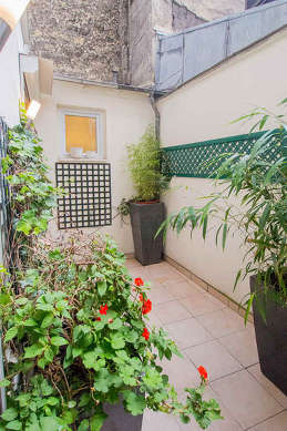 Quiet and bright balcony with paving floor