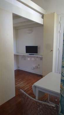 Very quiet living room furnished with 1 loft bed(s) of 140cm, tv, hi-fi stereo, wardrobe