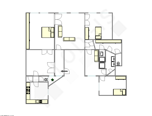 Apartamento Paris 6° - Plano interativo